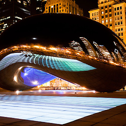 """Chicago Cloud Gate """"The Bean"""" sculpture. In February 2012 a light show named Luminous Field was added. Cloud Gate is located in Millennium Park in Grant Park in the downtown Chicago Loop."""