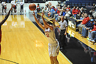 "Mississippi Lady Rebels guard Gracie Frizzell (12) shoots vs. Georgia at the C.M. ""Tad"" Smith Coliseum in Oxford, Miss. on Thursday, January 15, 2015.  (AP Photo/Oxford Eagle, Bruce Newman)"