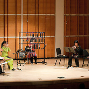 "February 18, 2012 - New York, NY : From left, Fuyuhiko Sasaki, Mayumi Miyata, Kyoko Kato, Hitomi Nakamura, and Takeshi Sasamoto perform Sukeyasu Shiba's 'Reconstruction from Dunhuang fragments: Kyu Kosomon and Kyukyokushi' (1983) .during ""Resonances of the Kugo,"" part of the 2012 New York Music From Japan Festival, at Merkin Concert Hall on Saturday. .CREDIT: Karsten Moran for The New York Times"