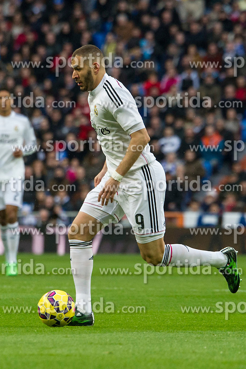 14.02.2015, Estadio Santiago Bernabeu, Madrid, ESP, Primera Division, Real Madrid vs Deportivo La Coruna, 23. Runde, im Bild Real Madrid&acute;s Karim Benzema // during the Spanish Primera Division 23rd round match between Real Madrid vs Deportivo La Coruna at the Estadio Santiago Bernabeu in Madrid, Spain on 2015/02/14. EXPA Pictures &copy; 2015, PhotoCredit: EXPA/ Alterphotos/ Luis Fernandez<br /> <br /> *****ATTENTION - OUT of ESP, SUI*****