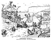 Unrecorded History. I. Landing William the Conqueror. (Cross channel, passage moderate.) (a Victorian cartoon shows William the Conquerer arriving at customs, Hastings Custom House, amid a scene of defeated English soldiers on the beach)