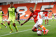 Exeter's Lloyd James watches Blackpool's Colin Daniel as he makes the cut back during the EFL Sky Bet League 2 match between Blackpool and Exeter City at Bloomfield Road, Blackpool, England on 6 August 2016. Photo by Craig Galloway.