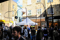 © Licensed to London News Pictures. 27/09/2015. City, UK. The Cereal Killer cafe in Brick Lane bears the aftermath of a paint attack, including the word SCUM written on the window, during the previous night by activists protesting against gentrification in London's East End. Photo credit : Stephen Chung/LNP