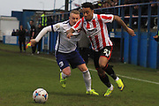 Ashley Grimes and Jordan Cranston during the Vanarama National League match between Barrow and Cheltenham Town at Holker Street, Barrow, United Kingdom on 6 February 2016. Photo by Antony Thompson.