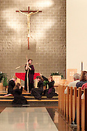 Jubilee members interpret Station Eight, where Jesus greets the women of Jerusalem, during a performance of 'The Way of the Cross' at St. Luke Catholic Parish in Beavercreek, Friday, March 30, 2012.  'The Way of the Cross' retraces 'the path Jesus walked on his way to Calvary.'