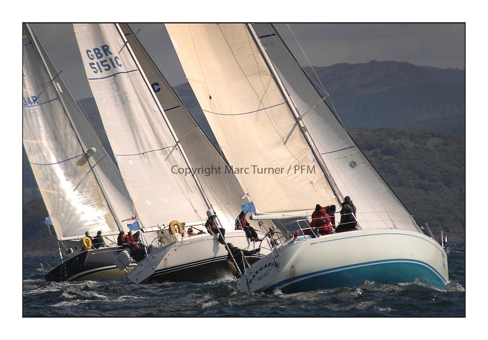 Brewin Dolphin Scottish Series 2012, Tarbert Loch Fyne - Yachting..Perfect conditions for day 2 of racing... GBR5151C, Argento, Ken Andrew, CCC, Jeanneau Sunshine 38 and  GBR1340R, Margarita, John Moorehead, RUYC, Swan 40..