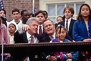 Presidents George Bush with Bill Clinton at the Presidents Summit for America's Future in Philadelphia, PA.