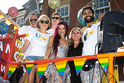 © Licensed to London News Pictures . 24/08/2019. Manchester, UK. Coronation Street float . The 2019 Manchester Gay Pride parade through the city centre , with a Space and Science Fiction theme . Manchester's Gay Pride festival , which is the largest of its type in Europe , celebrates LGBTQ+ life . Photo credit: Joel Goodman/LNP