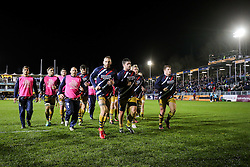 Bristol Rugby come in from the warmup - Rogan Thomson/JMP - 18/11/2016 - RUGBY UNION - Recreation Ground - Bath, England - Bath Rugby v Bristol Rugby - Aviva Premiership.