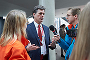 Graz, Austria - 2017 March 18: Timothy Perry Shriver (Chairman of Special Olympics) answers to journalists during Global Forum on Inclusion in Social Affairs and Sports while Special Olympics World Winter Games Austria 2017 at Convention Centre Messe Graz on March 18, 2017 in Graz, Austria.<br /> <br /> Mandatory credit:<br /> Photo by &copy; Adam Nurkiewicz / Mediasport<br /> <br /> Adam Nurkiewicz declares that he has no rights to the image of people at the photographs of his authorship.<br /> <br /> Picture also available in RAW (NEF) or TIFF format on special request.<br /> <br /> Any editorial, commercial or promotional use requires written permission from the author of image.<br /> <br /> Image can be used in the press when the method of use and the signature does not hurt people on the picture.