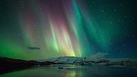 Northern Lights over Jökulsárlón Glacial Lagoon, Southeast Iceland.