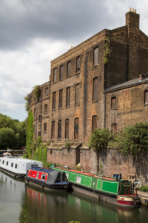 Canal boats on the Regents Canal at Kings Cross in London