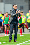 Sunderland AFC manager, Jack Ross encourages his team during the EFL Sky Bet League 1 match between Sunderland and Portsmouth at the Stadium Of Light, Sunderland, England on 17 August 2019.