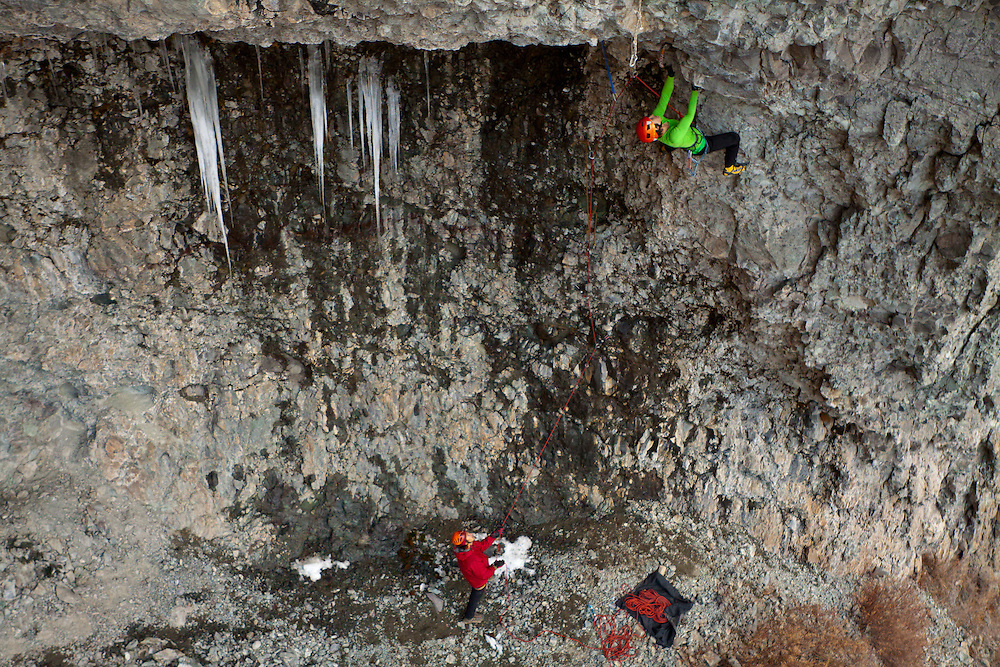 Kendra Stritch climbs Holy Girl Pile Batman! D12, at the Hall of Justice, Ouray, CO