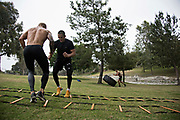 June 7, 2017 / Yorba Linda, Calif.<br /> <br /> During a workout in which one has to mirror another, high stepping their way through an agility ladder, Aaron Pico matches fellow fighter TJ Dillashaw step-for-step. (Melissa Lyttle for ESPN)