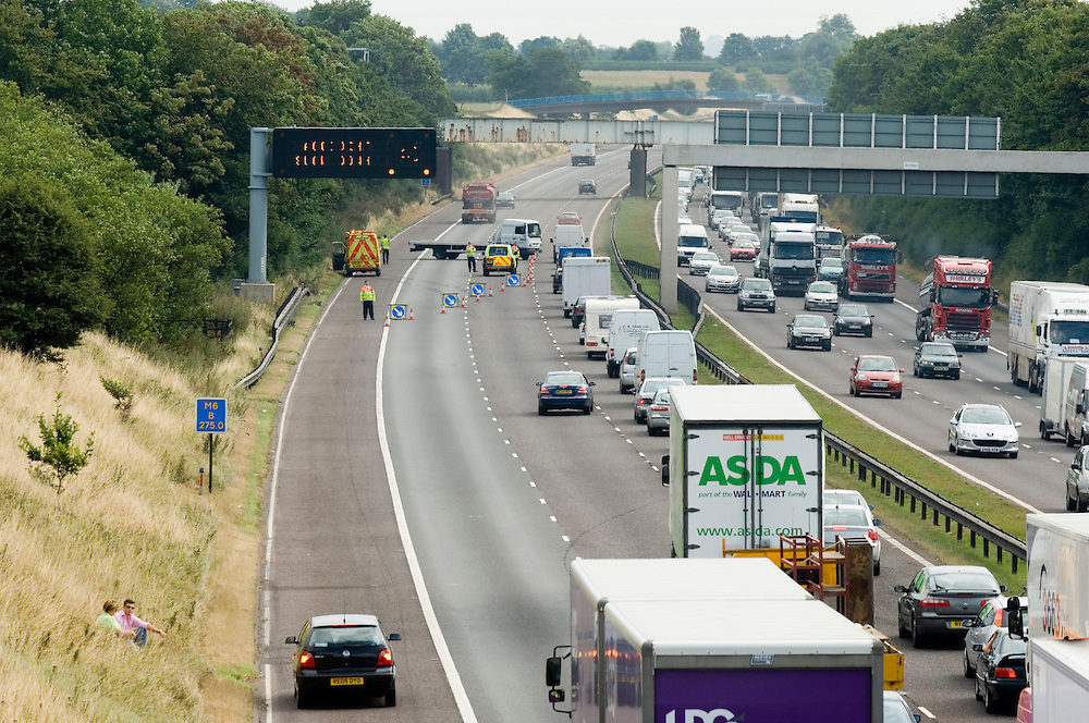 Traffic congestion on the M6 motorway in Cheshire after a lorry crash. Cheshire United Kingdom.
