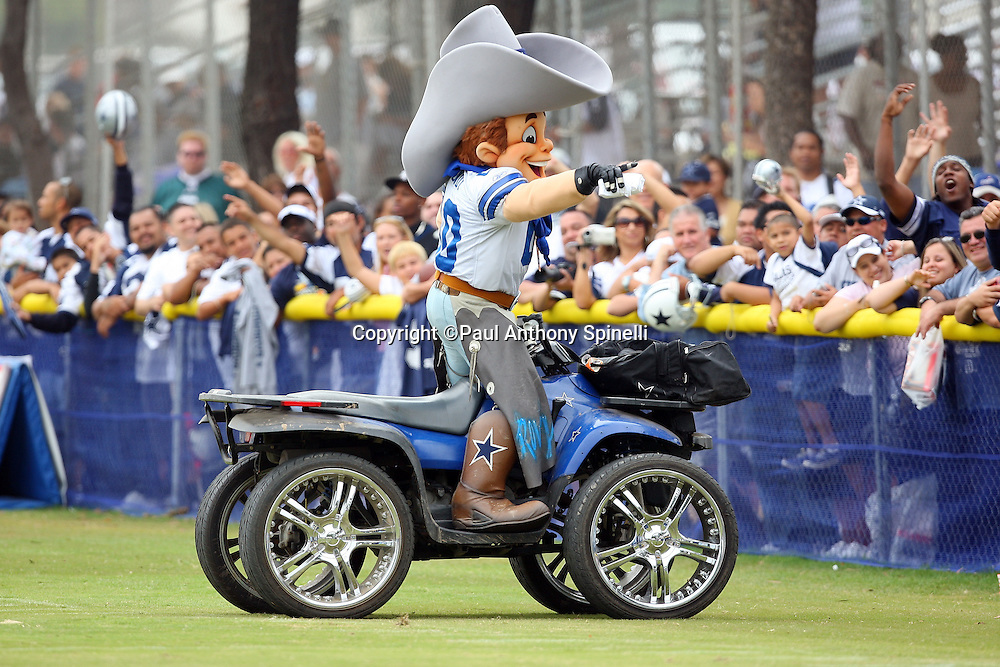 OXNARD, CA - AUGUST 01:  Rowdy, Official Mascot of the Dallas Cowboys, fires up the fans during the 2008 Dallas Cowboys Training Camp at River Ridge Field in Oxnard, California on August 1, 2008. ©Paul Anthony Spinelli *** Local Caption *** Rowdy