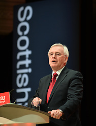 Shadow Chancellor John McDonnell delivers the keynote speech on the final day of the Scottish Labour conference at the Caird Hall in Dundee.<br /> <br /> © Dave Johnston / EEm