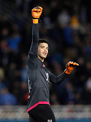 09.04.2016, Estadio de Anoeta, San Sebastian, ESP, Primera Division, Real Sociedad vs FC Barcelona, 32. Runde, im Bild Real Sociedad's Geronimo Rulli celebrates the victory // during the Spanish Primera Division 32th round match between Real Sociedad and FC Barcelona at the Estadio de Anoeta in San Sebastian, Spain on 2016/04/09. EXPA Pictures © 2016, PhotoCredit: EXPA/ Alterphotos/ Acero<br /> <br /> *****ATTENTION - OUT of ESP, SUI*****