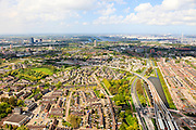 Nederland, Zuid-Holland, Rotterdam, 09-05-2013;<br /> Hoogvliet. Metro RET station Hoogvliet Tussenwater.<br /> New town with Subway (Tube) station, Rotterdam region.<br /> luchtfoto (toeslag op standard tarieven)<br /> aerial photo (additional fee required)<br /> copyright foto/photo Siebe Swart