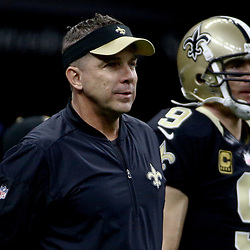 Dec 24, 2016; New Orleans, LA, USA; New Orleans Saints head coach Sean Payton with quarterback Drew Brees (9) before a game against the Tampa Bay Buccaneers at the Mercedes-Benz Superdome. Mandatory Credit: Derick E. Hingle-USA TODAY Sports