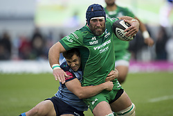 September 23, 2017 - Galway, Ireland - John Muldoon of Connacht tackled by Tomos Williams of Cardiff during the Guinness PRO14 Conference A match between Connacht Rugby and Cardiff Blues at the Sportsground in Galway, Ireland on September 23, 2017  (Credit Image: © Andrew Surma/NurPhoto via ZUMA Press)
