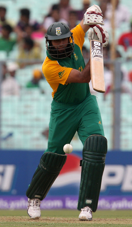 South African batsman Hashim Amla plays a shot against Ireland during the ICC Cricket World Cup - 34th Match, Group B South Africa vs Ireland Played at Eden Gardens, Kolkata, 15 March 2011 - day/night