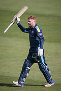 Jonny Bairstow (Yorkshire CCC) acknowledges the crowd as he walks off having scored 174 during the Royal London 1 Day Cup match between Yorkshire County Cricket Club and Durham County Cricket Club at Headingley Stadium, Headingley, United Kingdom on 3 May 2017. Photo by Mark P Doherty.
