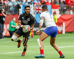 March 9, 2019 - Vancouver, BC, U.S. - VANCOUVER, BC - MARCH 10: Vilimoni Koroi #6 of New Zealand looking to deke Remi Siega #7 of France during Game #4- New Zealand 7s vs France 7s in Pool C match-up at the Canada Sevens held March 9-10, 2019 at BC Place Stadium in Vancouver, BC, Canada.(Photo by Allan Hamilton/Icon Sportswire) (Credit Image: © Allan Hamilton/Icon SMI via ZUMA Press)