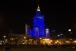 April 2, 2017 - Warsaw, Poland - Culture and Science  Palace in Warsaw highlighted in blue for the international day of autism. 02 April, 2017, Warsaw, Poland  (Credit Image: © Krystian Dobuszynski/NurPhoto via ZUMA Press)
