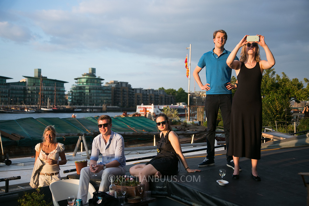 The Great Get Together on the Thames moorings in memory and celebration of the life of Jo Cox.