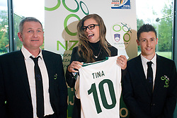 Head coach Matjaz Kek, miss of Slovenia Tina Petelin and captain Robert Koren at official presentation of Slovenian National Football team for World Cup 2010 South Africa, on May 21, 2010 in Congress Center Brdo at Kranj, Slovenia. (Photo by Vid Ponikvar / Sportida)