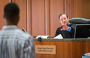 Students participate in a mock trail at the Harris County Civil Courthouse, July 30, 2014.