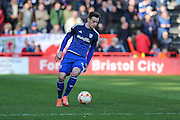 Cardiff City striker, Tom Lawrence (37) on the ball during the Sky Bet Championship match between Bristol City and Cardiff City at Ashton Gate, Bristol, England on 5 March 2016. Photo by Shane Healey.
