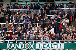LIVERPOOL, ENGLAND - Thursday, April 6, 2017: Racegoers react, during The Opening Day on Day One of the Aintree Grand National Festival 2017 at Aintree Racecourse. (Pic by David Rawcliffe/Propaganda)