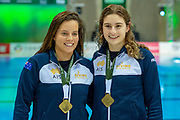 Anabelle Smith of Australia (left) and Maddison Keeney of Australia smile with their Gold Medals for the Women's Syncronised 3m dive during the FINA/CNSG Diving World Series 2019 at London Aquatics Centre, London, United Kingdom on 17 May 2019.