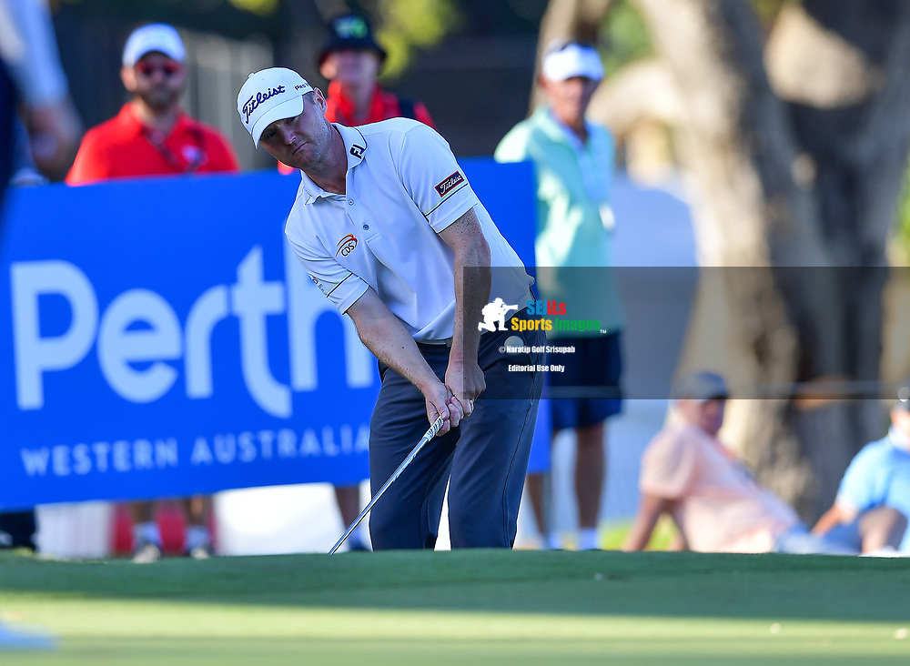 PERTH, AUSTRALIA - FEBRUARY 15: Michael Hoey (NIR) out of the bunker on the 18th green during the 2nd round of the ISPS Handa World Super 6, Lake Karrinyup Country Club, Perth, Western Australia, on February 15, 2019. <br /> .<br /> .<br /> .<br /> (Photo by: Naratip Golf Srisupab/SEALs Sports Images)<br /> .<br /> Any image use must include a mandatory credit line adjacent to the content which should read: Naratip Golf Srisupab/SEALs Sports Images