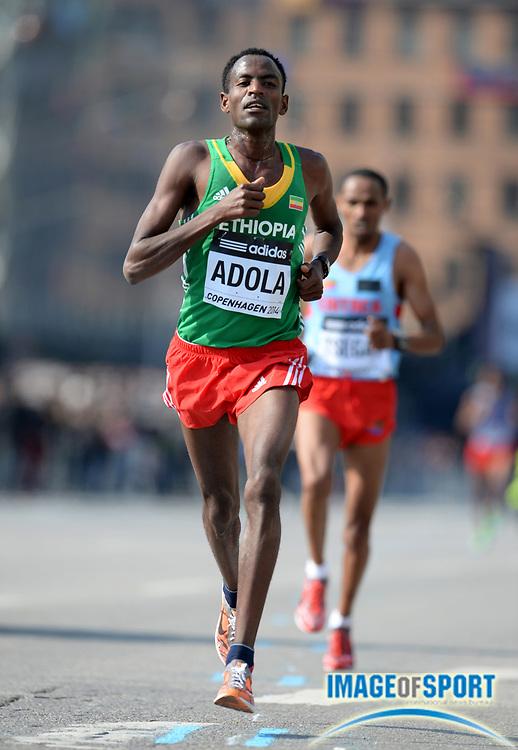Mar 29, 2014; Copenhagen, Denmark; Guye Adola (ETH) places third in the mens race in 59:21 in the IAAF/AL-Bank World Half Marathon Championship. Photo by Jiro Mochizuki