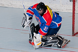 Gasper Kroselj, goalie of Slovenia, at inline hockey match between Dinamiti Horjul and Slovenia at HorjulCup, on June 9, 2011 in Sportni park, Horjul, Slovenia. (Photo by Matic Klansek Velej / Sportida)
