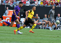 July 22, 2018 - Charlotte, NC, U.S. - CHARLOTTE, NC - JULY 22: Liverpool forward Dominic Solanke (29) and Borussia Dortmund Herbert Bockhorn (39) chase down the ball during an International Champions Cup match between LiverPool FC and Borussia Dortmund on July 22 2018 at Bank Of America Stadium in Charlotte,NC.(Photo by Dannie Walls/Icon Sportswire) (Credit Image: © Dannie Walls/Icon SMI via ZUMA Press)
