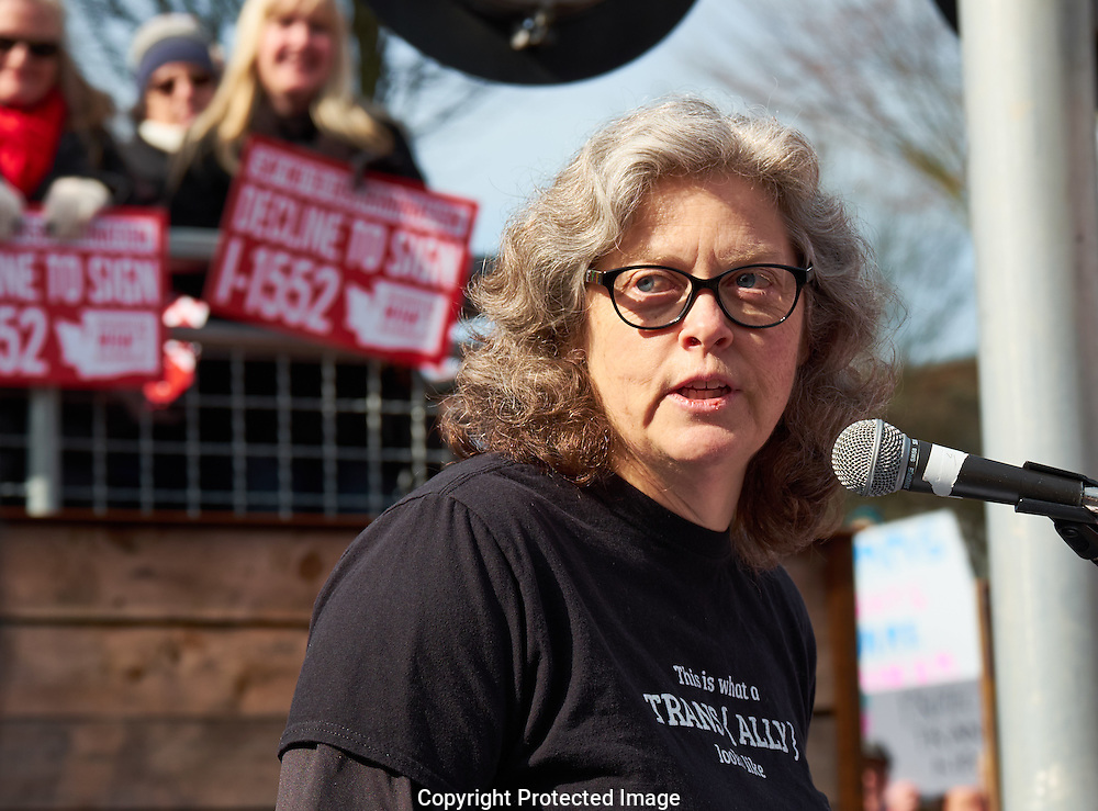 Washington State Rep. Laurie Jinkins speaks at a decline to sign I-1552 rally in downtown Tacoma, Washington, Saturday, Feb. 25, 2017. The voter  initiative—I-1552—would repeal protections for transgender Washingtonians. (Photo/John Froschauer)