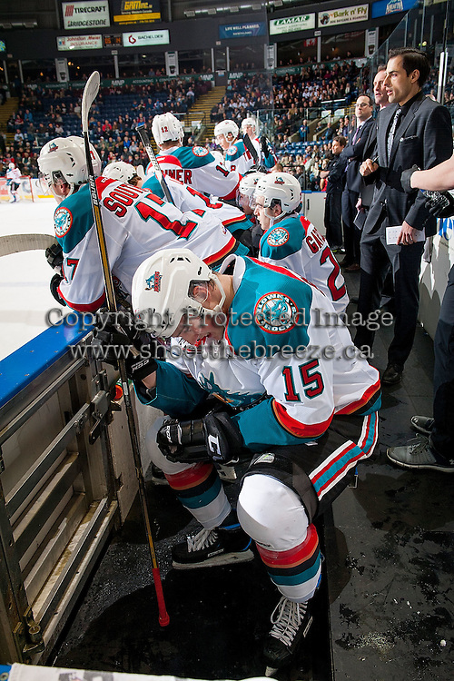 KELOWNA, CANADA - MARCH 1: Tomas Soustal #15 of the Kelowna Rockets sits on the bench after a first period injury against the Prince George Cougars on MARCH 1, 2017 at Prospera Place in Kelowna, British Columbia, Canada.  (Photo by Marissa Baecker/Shoot the Breeze)  *** Local Caption ***