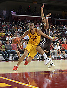 Nov 22, 2017; Los Angeles, CA, USA; Southern California Trojans forward Nick Rakocevic (31) is defended by Lehigh Mountain Hawks guard Caleb Bennett (4) during an NCAA basketball game at Galen Center. USC defeated Lehigh 88-63.