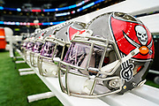 Tampa Bay Buccaneers helemt site on the bench ahead of during the International Series match between Tampa Bay Buccaneers and Carolina Panthers at Tottenham Hotspur Stadium, London, United Kingdom on 13 October 2019.