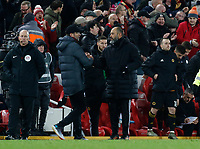 Football - 2019 / 2020 Premier League - Liverpool vs. Wolverhampton Wanderers<br /> <br /> Liverpool manager Jurgen Klopp consoles Wolves manager Nuno Espirito Santo at the end of the game, at Anfield.<br /> <br /> COLORSPORT/ALAN MARTIN