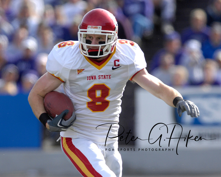 Iowa State wide receiver Austin Flynn rushes up field against Kansas State at Bill Snyder Family Stadium in Manhattan, Kansas, October 28, 2006.  The Wildcats beat the Cyclones 31-10.<br />