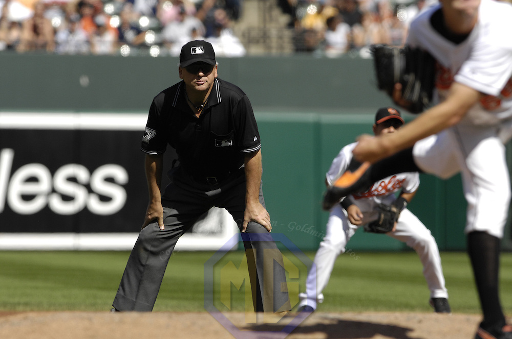 30 September 2007:  Second base umpire Larry Vanover in action during the game between the New York Yankees and the Baltimore Orioles.  The Yankees defeated the Orioles 10-4 to end the regular season at Camden Yards in Baltimore, MD.  ****For Editorial Use Only****