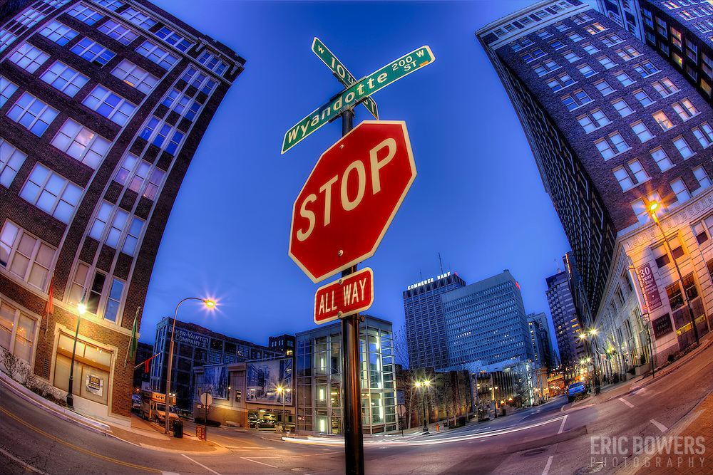 Intersection of 10th Street and Wyandotte in downtown Kansas City, Missouri.