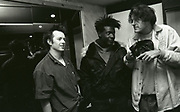 808 State - Graham Massey with A Guy Called Gerald at studio, Manchester, UK, circa 1989