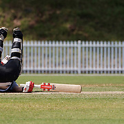 Katey Martin falls over while batting during the match between New Zealand and Pakistan in the Super 6 stage of the ICC Women's World Cup Cricket tournament at Drummoyne Oval, Sydney, Australia on March 19, 2009 New Zealand made 373 for 7. Photo Tim Clayton